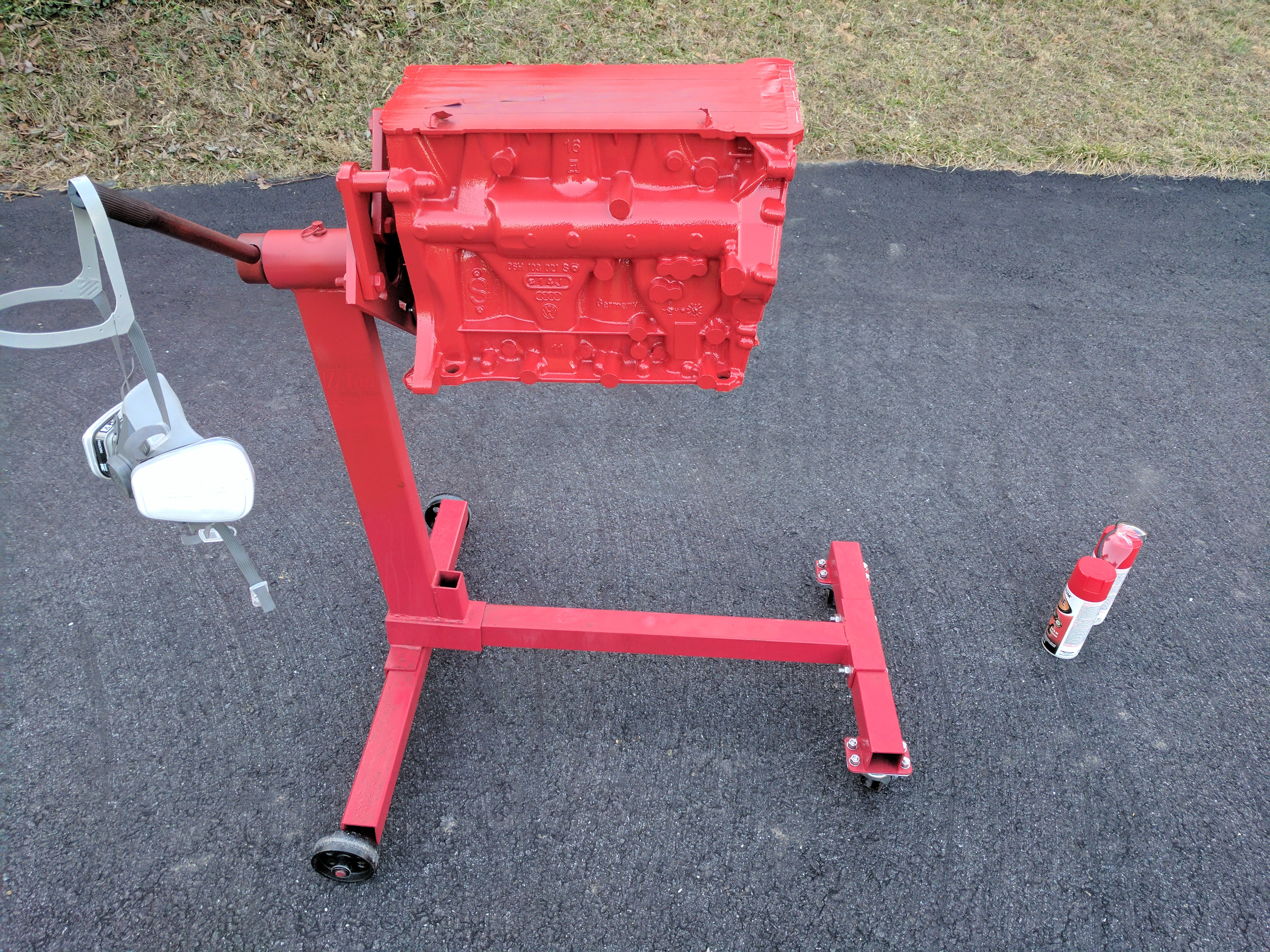 Engine block after paint